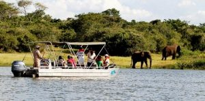 Boat cruise at lake ihema in Akagera National Park